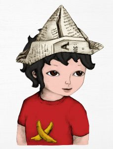Drawing of a child wearing a paper hat