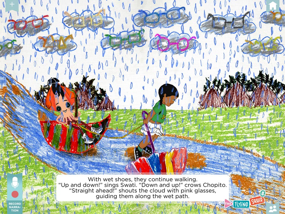 Drawing of a child and the flying squid jumping in the rain
