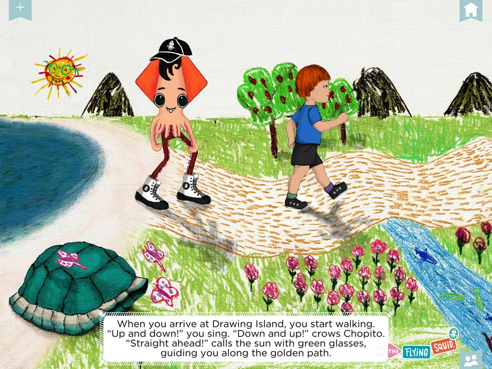 Drawing of a child and the flying squid walking happily on a trail