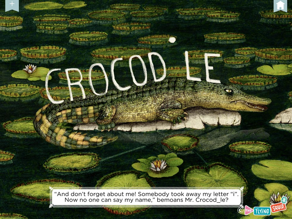 A drawing of a crocodile and water lilies