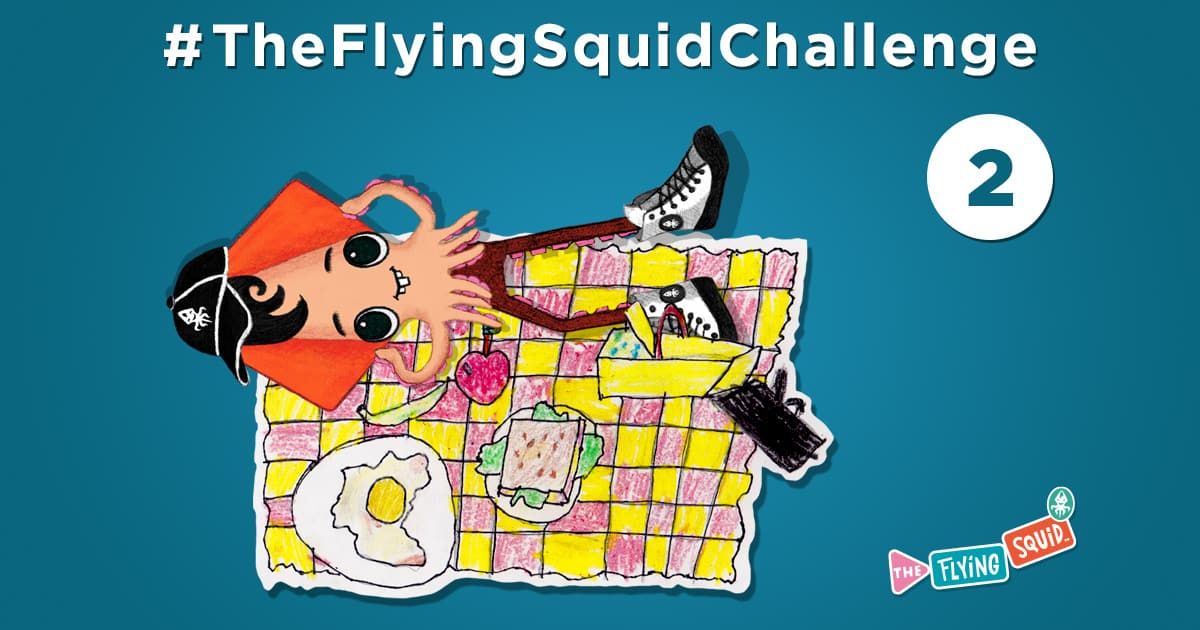 The flying Squid is practicing fun activities to do with kids, in this case a picnic at home.