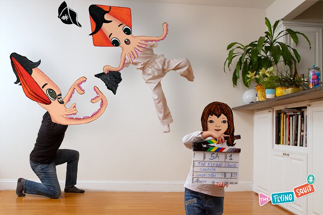 The Flying Squid, his sister and father making a home movie.