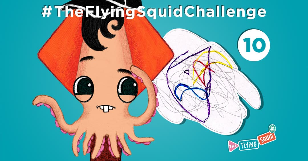 The Flying Squid is playing fun activities to do with kids, in this case a game called Scrawl Scribble
