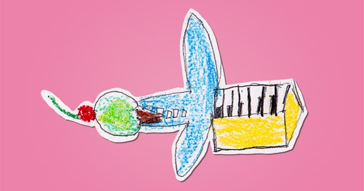 A drawing of an airplane-piano-icecream-cone-cherry.