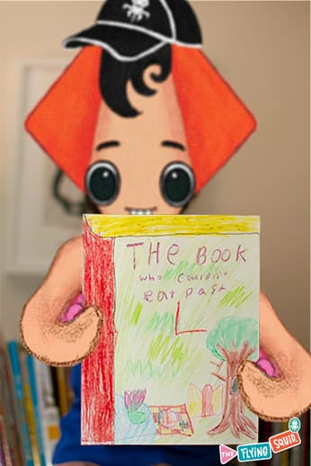 The Flying Squid, presenting the book he wrote.